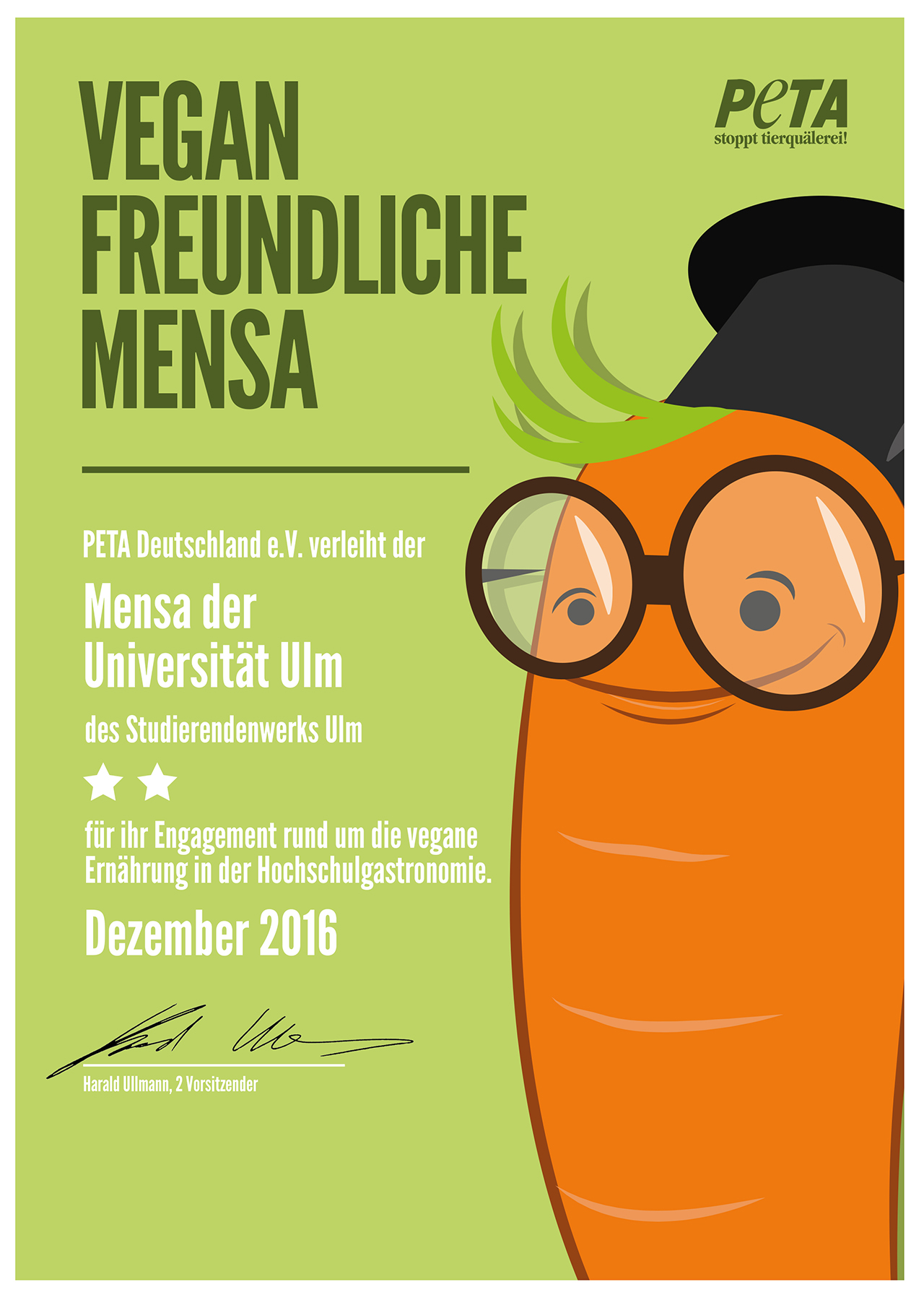 Quality studierendenwerk ulm certificate from the animal rights group peta as vegan friendly mensa 1betcityfo Images