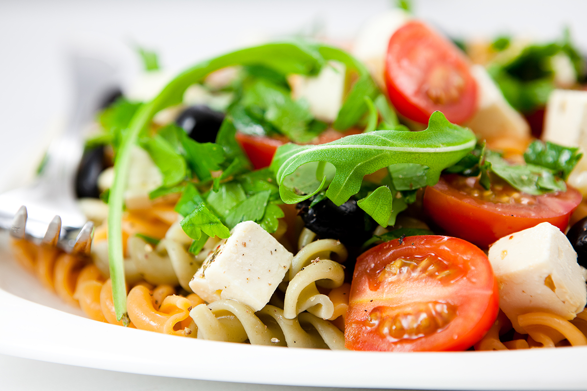 Pasta,Salad,With,Feta,Cheese,,Cherry,Tomatoes,,Black,Olives,,Spices,